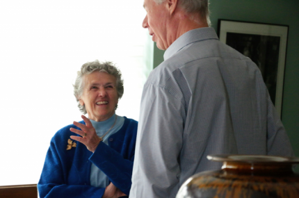 Joan and filmmaker Martin Doblmeier chat during the filming.