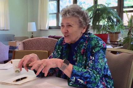Joan leads the discussion at the 2019 Joan Chittister Institute for Contemporary Spirituality
