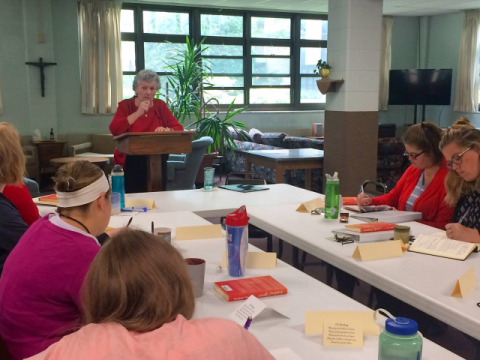 Sister Joan and participants in the 2018 Joan Chittister Institute for Contemporary Spirituality